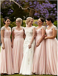 cheap -A-Line Straps Floor Length Chiffon Bridesmaid Dress with Lace / Ruching