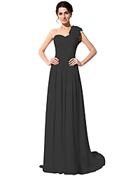 cheap -A-Line One Shoulder Sweep / Brush Train Chiffon Bridesmaid Dress with Ruching