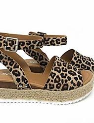 cheap -Women's Sandals Wedge Heel Open Toe PU Casual Summer Black / Brown / Leopard