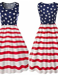 cheap -Adults' Women's Cosplay American Flag Dress Cosplay Costume For Halloween Daily Wear Cotton Independence Day Dress
