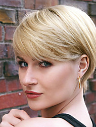 cheap -Human Hair Wig Short Straight Natural Straight Bob Pixie Cut Layered Haircut Asymmetrical Blonde Life Easy dressing Comfortable Capless Women's All Beige Blonde / Bleached Blonde 8 inch