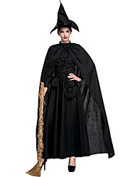 cheap -Witch Movie / TV Theme Costumes Uniforms Dress Cosplay Costume Masquerade Adults' Women's Dresses Halloween Christmas Halloween Carnival Festival / Holiday Polyster Black Carnival Costumes Solid