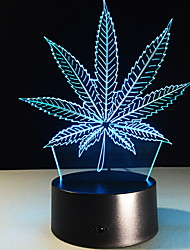 cheap -3D Night Light Maple Leaf LED Colorful Christmas Gift Birthday Date Decoration Acrylic Desk Lamp Touch Sensor USB and Batteries Powered Visual Lamp for Bedside Desk Table Kids Baby Toy