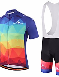 cheap -Miloto Men's Short Sleeve Cycling Jersey with Bib Shorts Orange Purple Green Gradient Bike Bib Shorts Jersey Bib Tights Breathable Quick Dry Sweat-wicking Sports Polyester Lycra Gradient Mountain