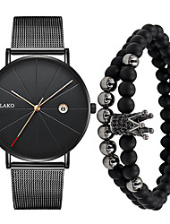 cheap -Men's Dress Watch Quartz Casual Water Resistant / Waterproof Calendar / date / day Casual Watch Analog Rose Gold Black / Silver Black / One Year / Stainless Steel
