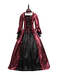 cheap -Princess Maria Antonietta Floral Style Rococo Victorian Renaissance Dress Party Costume Masquerade Women's Lace Costume Red black Vintage Cosplay Christmas Halloween Party / Evening 3/4 Length Sleeve
