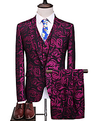 cheap -Fuchsia Patterned Slim Fit Polyester Suit - Notch Single Breasted One-button