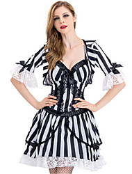 cheap -Vampire Dress Cosplay Costume Masquerade Adults' Women's Cosplay Halloween Christmas Halloween Carnival Festival / Holiday Polyster Black Carnival Costumes Holiday Black & White Halloween