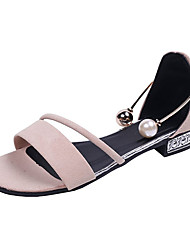 cheap -Women's Sandals Low Heel PU Casual Summer Black / Khaki