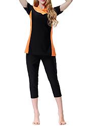 abordables -Femme Basique A Bretelles Violet Orange Vert Slips Tankinis Maillots de Bain - Bloc de Couleur S M L Violet