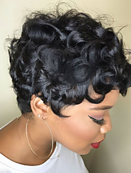 cheap -Human Hair Wig Short Curly Natural Wave Pixie Cut Sexy Lady Best Quality Comfortable Capless Women's All Black#1B / African American Wig / For Black Women