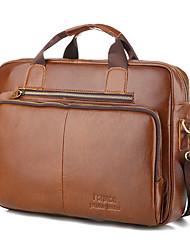 cheap -Men's Bags Cowhide Laptop Bag Briefcase Top Handle Bag Belt Zipper Solid Color Handbags Shopping Daily Brown