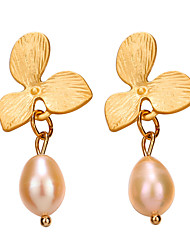 cheap -Women's Pearl Drop Earrings Flower Baroque European Earrings Jewelry Gold For Gift Festival 1 Pair