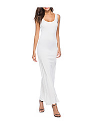 cheap -Women's Plus Size Daily Basic Maxi Slim Sheath Dress - Solid Colored White U Neck Summer Navy Blue Yellow Wine XL XXL XXXL