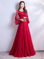 cheap -A-Line Illusion Neck Sweep / Brush Train Lace / Tulle Luxurious / Red Engagement / Formal Evening Dress with Beading / Appliques 2020