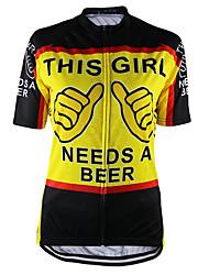 abordables -21Grams Femme Manches Courtes Maillot Velo Cyclisme Noir / jaune. Bière Oktoberfest Cyclisme Hauts / Top VTT Vélo tout terrain Vélo Route Résistant aux UV Respirable Evacuation de l'humidité Des