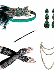 cheap -Charleston Vintage 1920s The Great Gatsby Costume Accessory Sets Flapper Headband Women's Feather Costume Red / black / Green and Black / Golden+Black Vintage Cosplay Festival