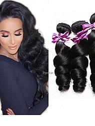 Недорогие -6 Связок Бразильские волосы Свободные волны человеческие волосы Remy 300 g Человека ткет Волосы Пучок волос One Pack Solution 8-28 дюймовый Естественный цвет Ткет человеческих волос