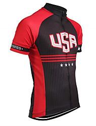Недорогие -21Grams Американский / США Флаги Муж. С короткими рукавами Велокофты - Черный / красный Велоспорт Верхняя часть Устойчивость к УФ Дышащий Влагоотводящие Виды спорта Терилен / Слабоэластичная