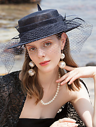 cheap -100% Linen Fascinators / Hats with Feather 1pc Wedding / Party / Evening Headpiece