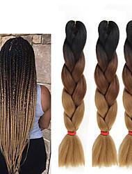 cheap -Crochet Hair Braids Jumbo Box Braids Natural Color Synthetic Hair 24 inch Braiding Hair 3 Pieces Heat Resistant