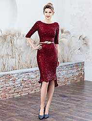 cheap -Mermaid / Trumpet Jewel Neck Asymmetrical Sequined Sexy / Elegant Cocktail Party / Holiday Dress 2020 with Sequin / Sash / Ribbon