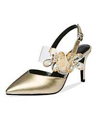 cheap -Women's Sandals Stiletto Heel Pointed Toe Sequin / Sparkling Glitter Nappa Leather Casual / Sweet Walking Shoes Fall / Spring & Summer Gold