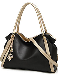 cheap -Women's Polyester / PU Top Handle Bag Leather Bags Solid Color Wine / Black / Gray / Fall & Winter