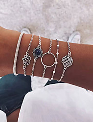 cheap -6pcs Women's Bracelet Link Bracelet Layered Flower Sunflower Lotus Vintage European Fashion Alloy Bracelet Jewelry Silver For Party Daily Holiday Festival