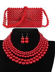 cheap -Women's Red Drop Earrings Necklace Earrings Beaded Simple Luxury Classic Vintage Fashion Imitation Pearl Earrings Jewelry Red For Wedding Party Engagement Gift Street Three-piece Suit