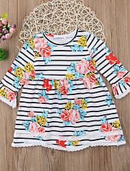 cheap -Kids Toddler Girls' Striped Floral Dress Navy Blue