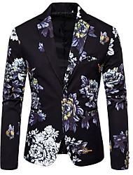 cheap -White / Black / Dark Green Patterned Standard Fit Polyester Suit - Notch Single Breasted One-button