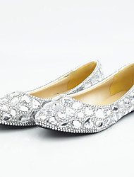 cheap -Women's Flats Comfort Loafers Flat Heel Rhinestone / Beading Synthetics Sweet / Minimalism Spring &  Fall / Summer Silver