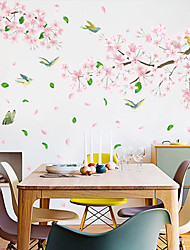 cheap -Pink Flowers And Birds Wall Stickers - 3D Wall Stickers Floral / Botanical / Landscape Study Room / Office / Dining Room / Kitchen