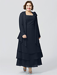 cheap -A-Line Scoop Neck Ankle Length Chiffon Sleeveless Elegant / Plus Size Mother of the Bride Dress with Lace Mother's Day 2020 Mother of the groom dresses