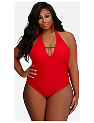 cheap -Women's Basic Black Red Halter Cheeky One-piece Swimwear - Solid Colored Print XL XXL XXXL Black