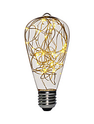 cheap -1pc 3 W LED Filament Bulbs 200-300 lm E26 / E27 ST64 25 LED Beads SMD Decorative Christmas Wedding Decoration Copper Wire Light Warm White 85-265 V