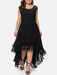 cheap -Women's Elegant A Line Dress - Solid Colored Black XXL XXXL XXXXL