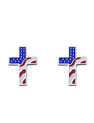 cheap -Women's Stud Earrings Classic American flag Cross Patriotic Jewelry European Trendy Stainless Steel Earrings Jewelry Rainbow For Gift Street Festival 1 Pair