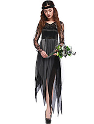 cheap -Ghost Bride Cosplay Costume Masquerade Adults' Women's Halloween Christmas Halloween Carnival Festival / Holiday Lace Polyster Black Carnival Costumes Holiday Halloween