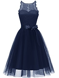 cheap -A-Line Jewel Neck Knee Length Tulle Bridesmaid Dress with Bow(s)