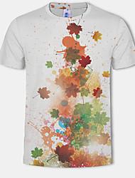 cheap -Men's Plus Size Color Block T-shirt Daily Wear Round Neck White / Short Sleeve