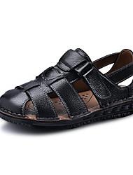 abordables -Homme Chaussures en cuir Cuir Printemps été Chinoiserie Sandales Respirable Noir / Marron / De plein air