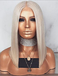 cheap -Synthetic Lace Front Wig Straight Middle Part Lace Front Wig Blonde Short Light golden Synthetic Hair 12-14 inch Women's Adjustable Heat Resistant Party Blonde