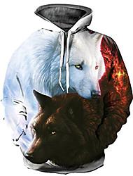 abordables -Pull à Capuche & Sweat-shirt Homme, Bloc de Couleur / 3D / Animal Imprimé Basique / Exagéré Blanche