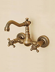 cheap -Bathroom Sink Faucet - Widespread Antique Copper Wall Mounted Two Holes / Two Handles Three HolesBath Taps