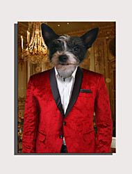 cheap -E-HOME Stretched Canvas Art Cute Animal Series - Red Gentleman Dog Decoration Painting  One Pcs