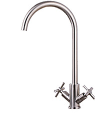 cheap -Kitchen faucet - Single Handle One Hole Brushed Steel Standard Spout / Tall / ­High Arc Other Contemporary Kitchen Taps / Stainless Steel