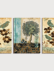 cheap -Print Stretched Canvas Prints - Birds Floral / Botanical Modern Three Panels Art Prints