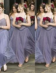 cheap -A-Line Spaghetti Strap Floor Length Chiffon Bridesmaid Dress with Sash / Ribbon